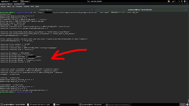 Acessando arquivo via CURL: curl 'http://{target}/application/configs/application.ini' --user-agent 'INURLBR/5.0 (X11; Linux x86_64)'