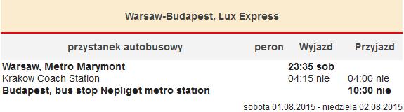Warszawa-Kraków-Budapeszt, Lux Express