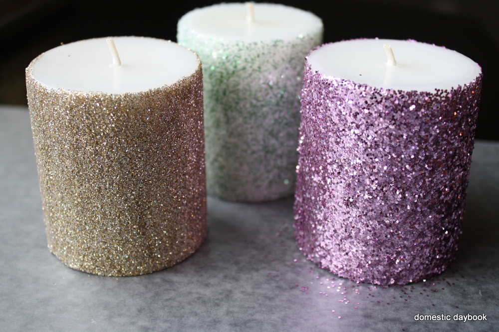 My domestic daybook glitter pillar candles tutorial for Shimmer pillar candle