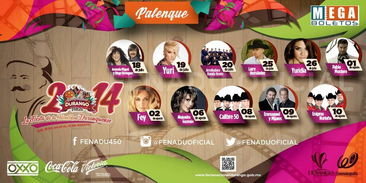 Artistas Palenque Feria Durango 2014