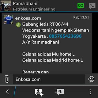 Detail alamat dan pesanan jersey Rama dhani oleh enkosa sport