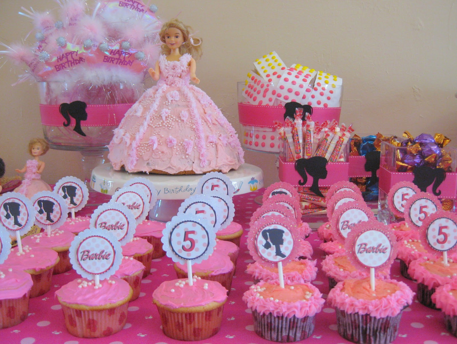 Swanky chic fete pink barbie party a 5th birthday party for 5th birthday decoration ideas