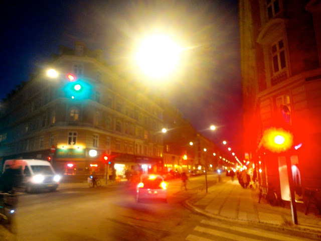 Night lights of Vesterbro, Copenhagen, Denmark