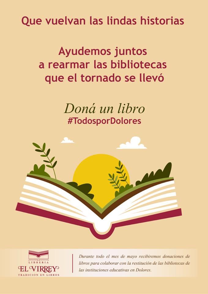 AYUDEMOS a rearmar las bibliotecas que el tornado se llevó en Dolores departamento de Soriano.