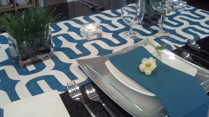 Blue Teal Embrace Table Runner