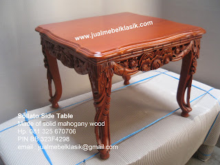 Supplier meja tamu ukir mahoni meja sudut ukir sollato meja side table sollato supplier meja klasik jepara