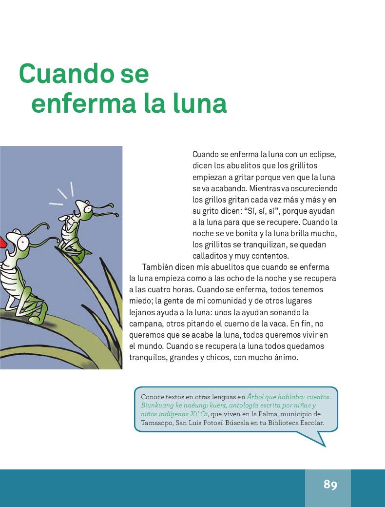 Chitiliche uan metstli/ Cuando se enferma la luna - Español Lecturas 4to 2014-2015