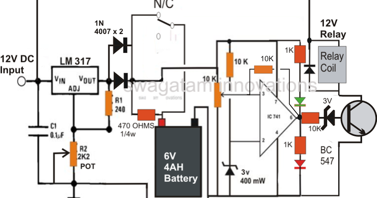 make a 6v 4ah automatic battery charger circuit without