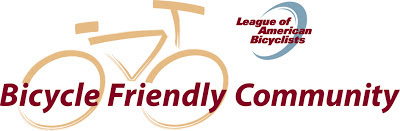 Logo: Bicycle Friendly Community, administered by League of American Bicyclists