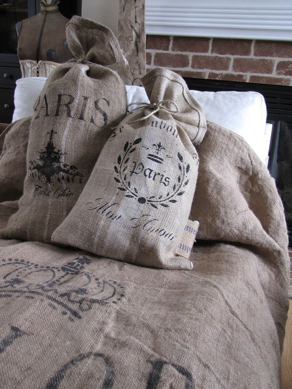 Eye for design from the barn to the manor decorating for Burlap sack decor