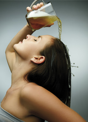 Learn how to use beer for shiny and bouncy hair at Baronial Feminite.