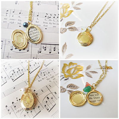 image collage mr darcy locket necklaces pride and prejudice jane austen beaded gold