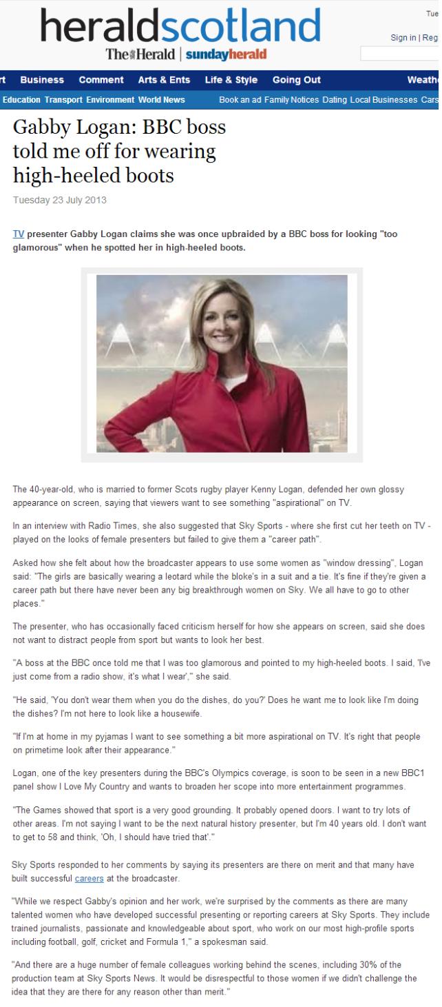 the appreciation of booted news women blog gabby logan had a bbc