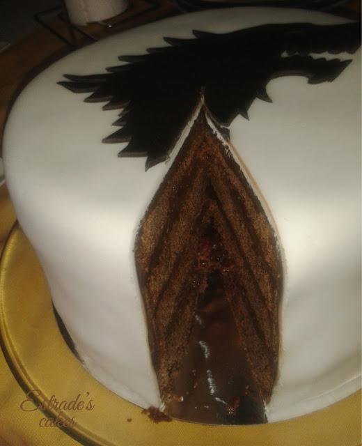 tarta de fondant de juego de tronos, casa Stark - corte