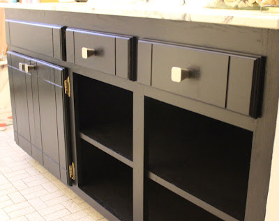 bathroom cabinet drawer after painted black