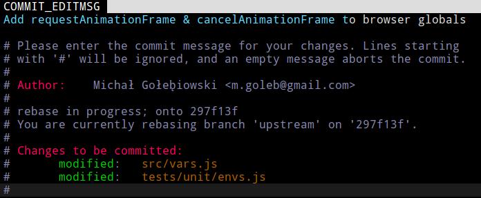 使用 git rebase --continue 時的 commit 訊息編輯畫面