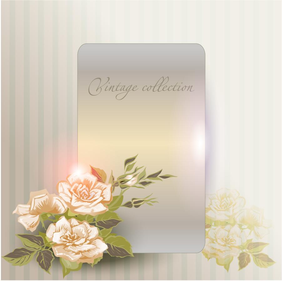 美しく反射する花飾りのプレート beautiful flowers background イラスト素材