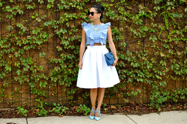 Ruffle top and White Midi Skirt