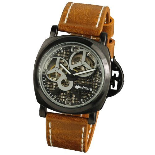 INFANTRY ANALOG MECHANICAL HAND-WINDING 20-24CM BROWN LEATHER MENS WRIST WATCH
