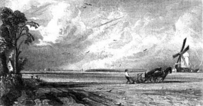 The Windmill - an engraving by David Lucas from Spring (1792)  from Memoirs of the Life of John Constable by CR Leslie (1845)