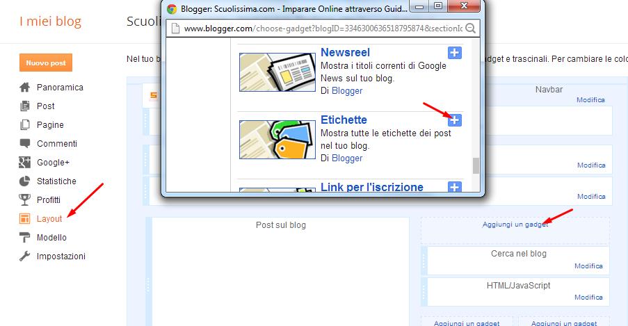 inserimento widget etichette