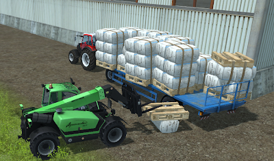 You can place 10 sheep wool pallets on the bale trailer