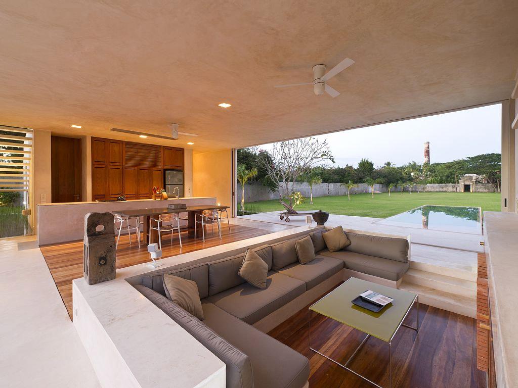 Sunken Veja Modelos De Salas E Lounges Rebaixados Do N Vel Do Piso  -> Casa Sala De Tv Sala De Jantar A Fazenda