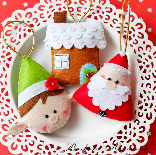 80 ideias de enfeites de natal com feltro gemelares - Arbol de navidad artesanal ...
