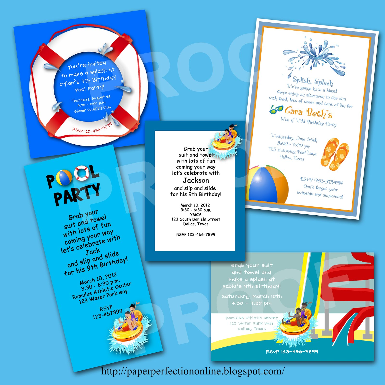Paper Perfection Water Park Pool Party Invitations – Water Park Party Invitations