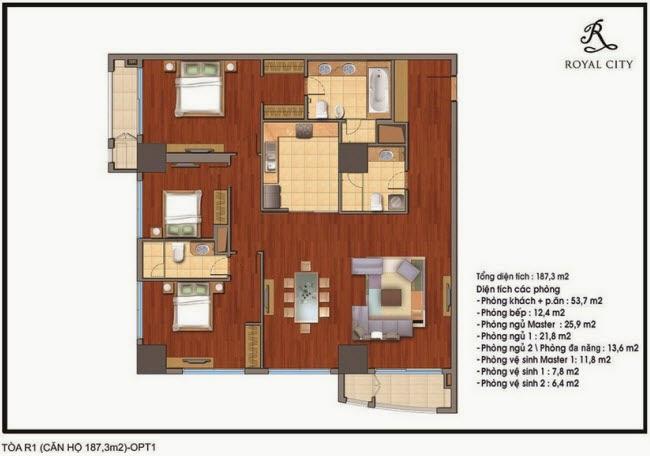 Chi tiết thiết kế căn hộ toà R1 chung cư Royal City diện tích 187.3 m2