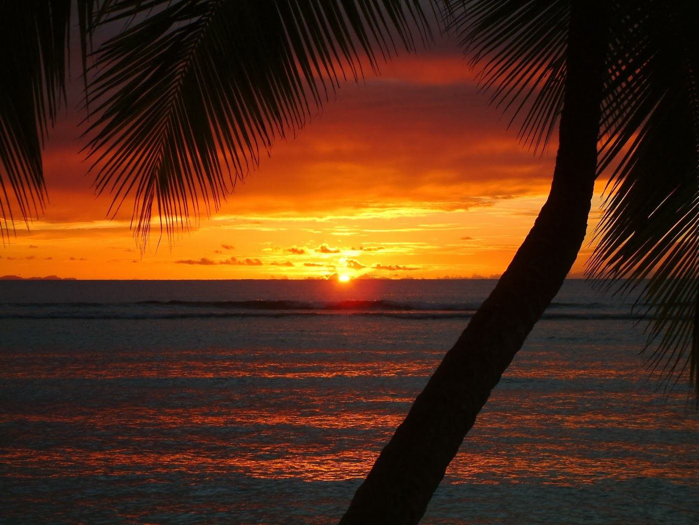 Red sunset over the Caribbean Sea