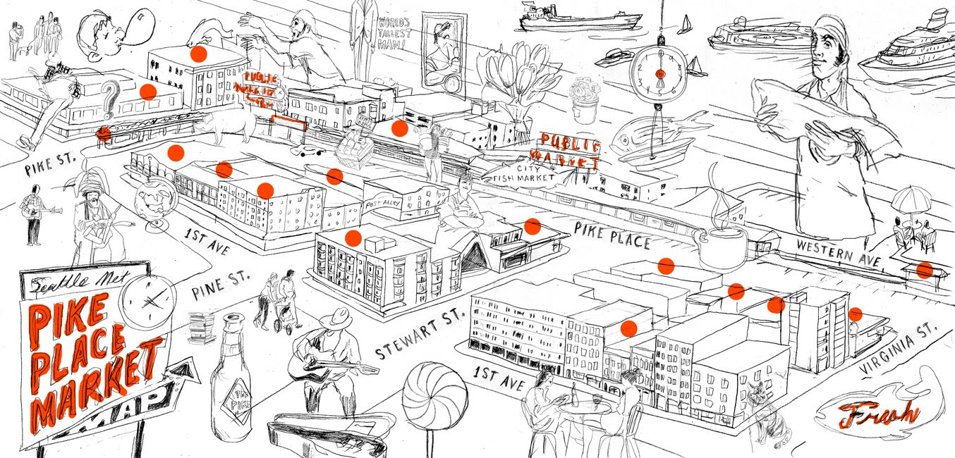 MICHAEL BYERS PIKE PLACE MARKET MAP FOR SEATTLE MET Levy