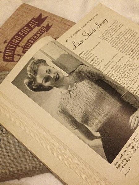 Lace stitch jersey, Odhams knitting book, 1940s