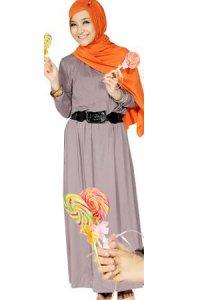 Nuhijab Plain Dress - Baby Grey (Toko Jilbab dan Busana Muslimah Terbaru)