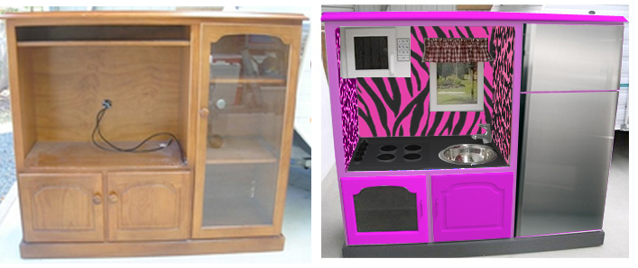 eelassirak: Mini Kitchen from re-purposed entertainment center