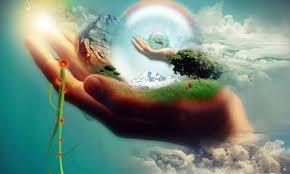 Realidade existe? Mão segurando globo com plantas e outra mão dentro, segurando outro globo com outra mão dentro...