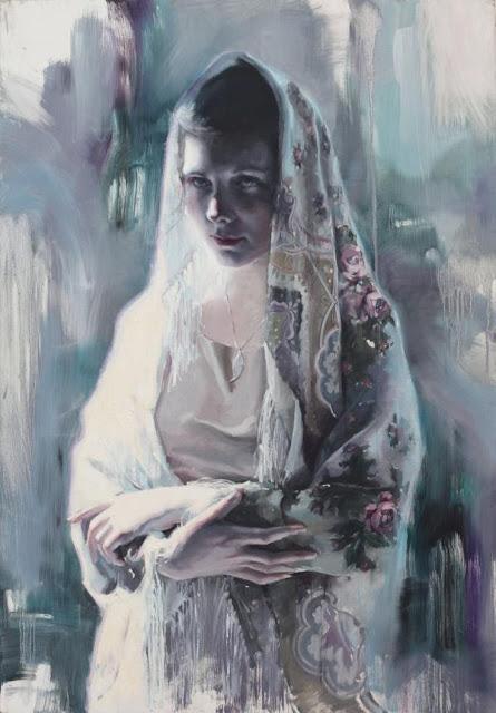 wanita, kerudung, lukisan, cantik