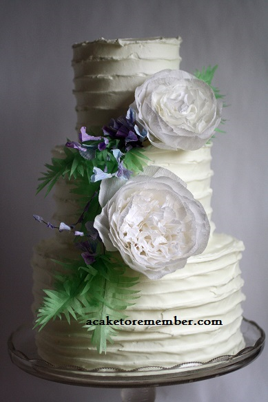 Rustic Icing with Paper Garden Roses Wedding Cake