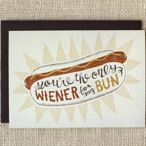 Ma Bicyclette: Buy Handmade | Valentine's Day Cards - You're the only wiener
