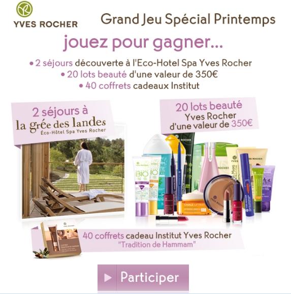 Jeu concours Yves Rocher: 2 séjours + lots de produits + coffret cadeau institut Yves Rocher  bon plan yves rocher reduc yves rocher cadeau yves rocher promo yves rocher