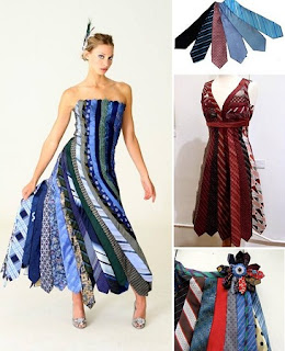 Vestido de Diseño con Corbatas Recicladas
