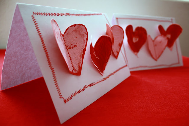Potato stamper Valentine's cards