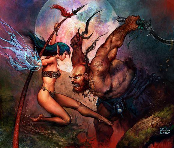 Halil Ural mrdream deviantart ilustrações fantasia arte conceitual Dança - feiticeira versus bárbaro
