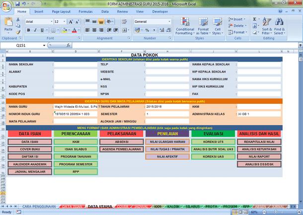 Aplikasi Administrasi Guru Format Microsoft Excel