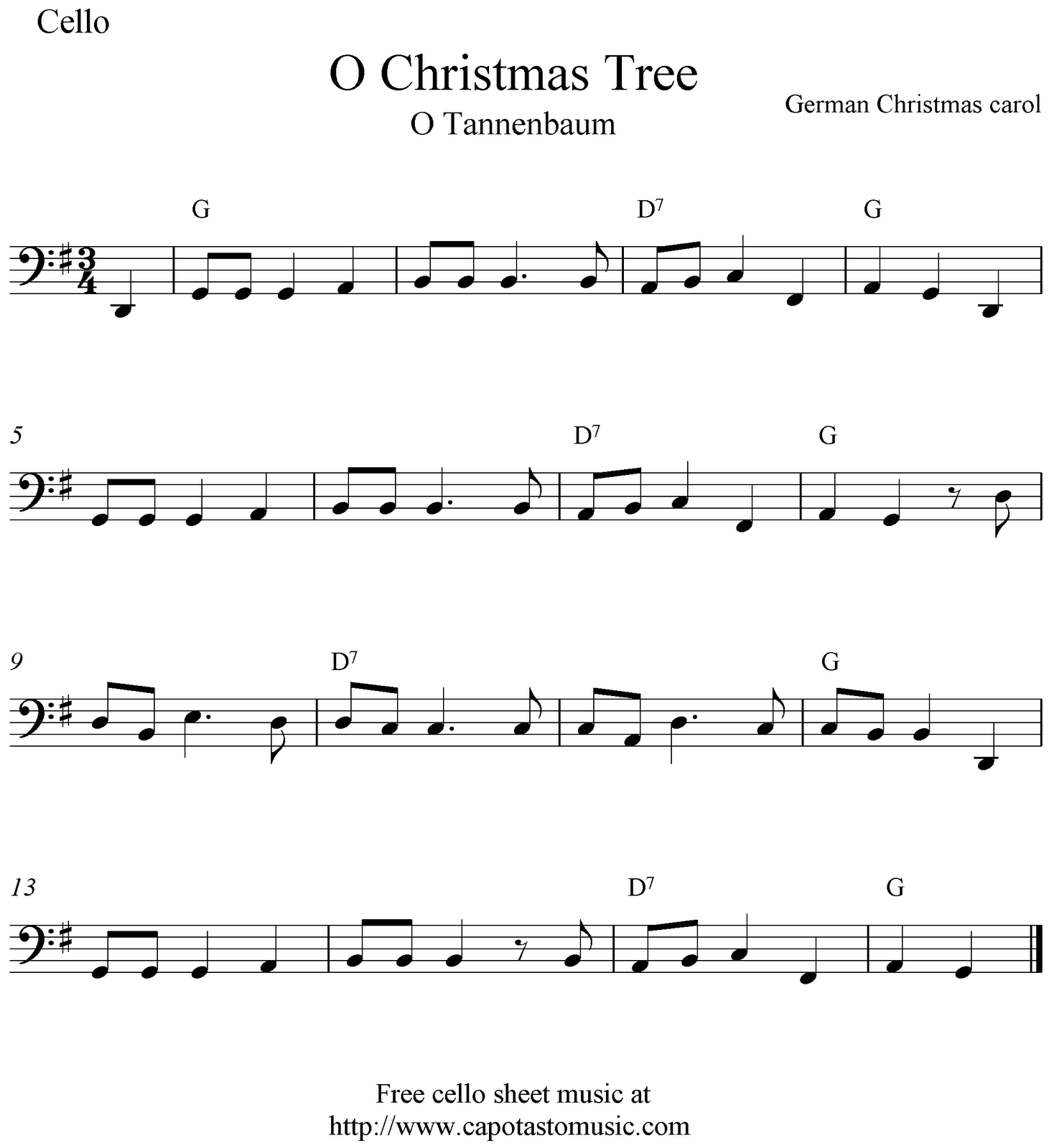 Free Christmas Guitar Sheet Music For Beginners: O Christmas Tree, Free Christmas Cello Sheet Music Notes