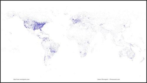Mapa del mundo trazado a través de las pistas de aterrizajes de sus aeropuertos