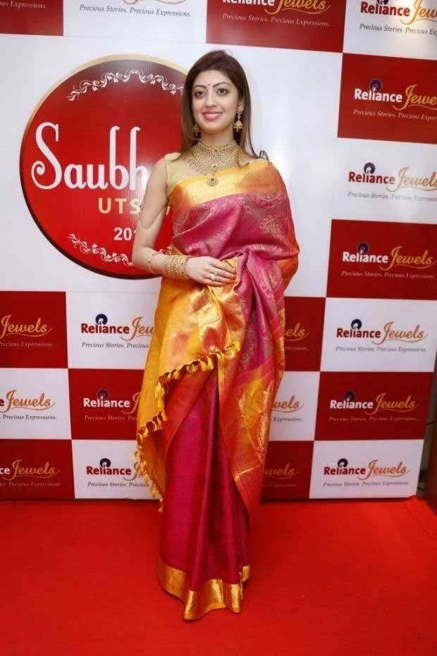 Pranitha in Kanchipuram silk saree
