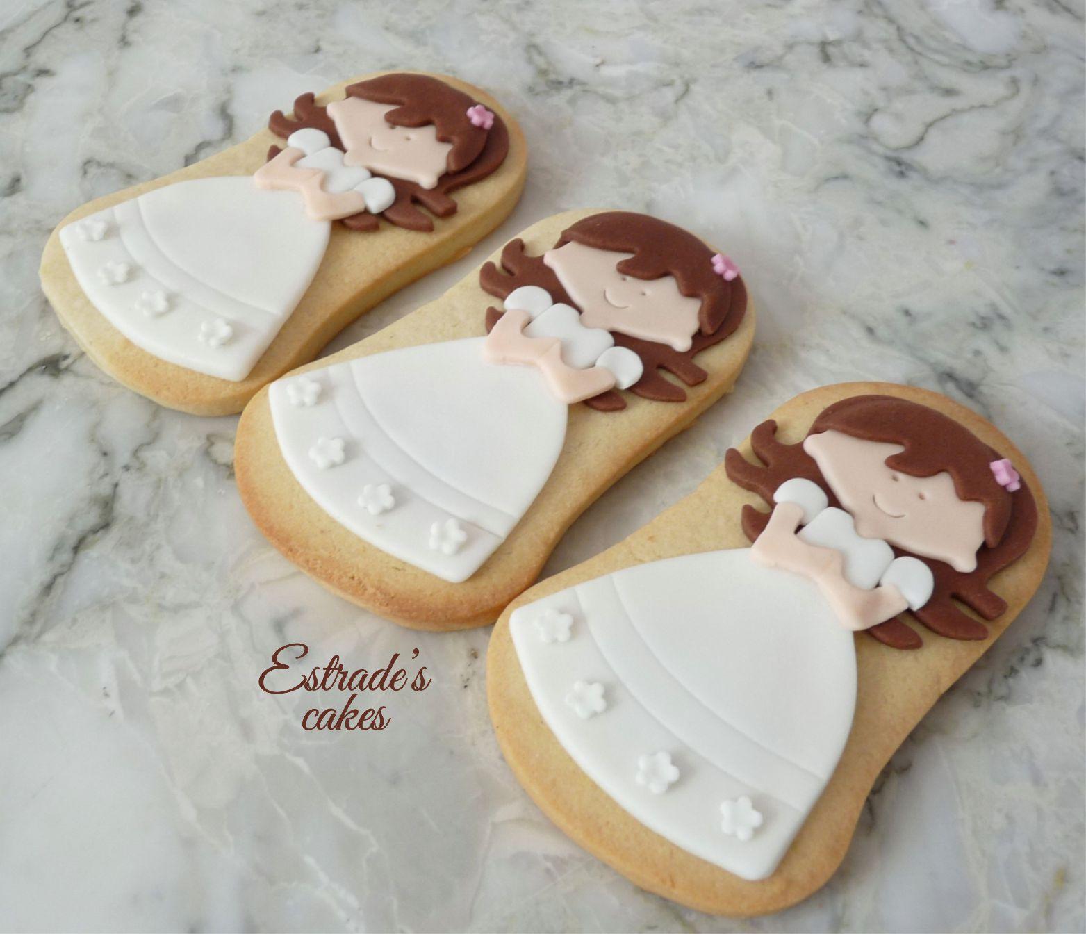 galleta de niña de Comunión morena-4