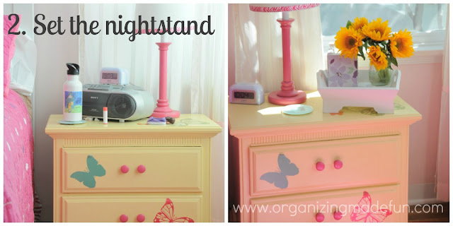 Set the nightstand or night table :: OrganizingMadeFun.com