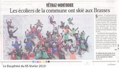 Dauphiné Libéré : Les écoliers de la commune ont skié aux Brasses